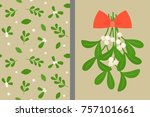 mistletoe and red bow with... | Shutterstock .eps vector #757101661