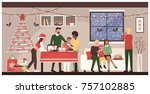 people celebrating christmas... | Shutterstock .eps vector #757102885