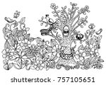 kid's drawing of tree  birds ... | Shutterstock . vector #757105651