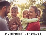 happy family with two children... | Shutterstock . vector #757106965