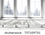 white winter window with a... | Shutterstock . vector #757109731
