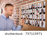 businessman selecting... | Shutterstock . vector #757115971
