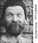 portrait of a man on a brick... | Shutterstock . vector #757118005