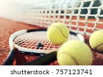Small photo of Tennis game. Tennis ball with racket on the tennis court. Sport, recreation concept
