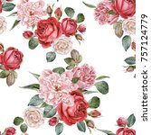 floral seamless pattern with... | Shutterstock . vector #757124779