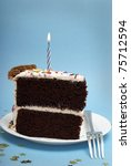 A Slice Of Chocolate Cake With...