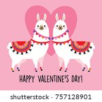 valentine's day card featuring... | Shutterstock .eps vector #757128901