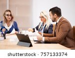 two successful business women... | Shutterstock . vector #757133374
