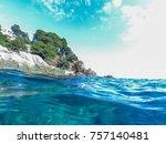 seascape at costa brava ... | Shutterstock . vector #757140481