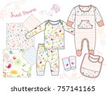 newborn baby girl fashion... | Shutterstock .eps vector #757141165