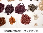 piles of colorful dried beans... | Shutterstock . vector #757145041