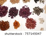 piles of colorful dried beans... | Shutterstock . vector #757145047