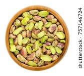 shelled pistachio kernels in...   Shutterstock . vector #757146724