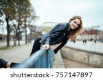 autumn getaways in paris. young ... | Shutterstock . vector #757147897