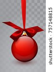 glass christmas red toy on a... | Shutterstock .eps vector #757148815