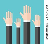 many raised hands of... | Shutterstock .eps vector #757149145