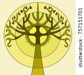 stylized tree in ethnic style... | Shutterstock .eps vector #757151701