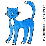 funny blue cat with heart nose... | Shutterstock . vector #757159567