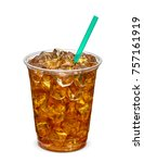 ice tea in takeaway cup on... | Shutterstock . vector #757161919