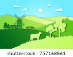 paper design fields and meadow... | Shutterstock .eps vector #757168861
