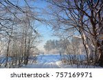 winter landscape with road | Shutterstock . vector #757169971