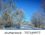 winter landscape with road | Shutterstock . vector #757169977
