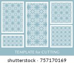 decorative panels set for laser ... | Shutterstock .eps vector #757170169