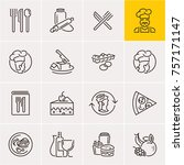 line food icons set  cooking | Shutterstock .eps vector #757171147