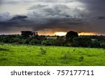 sunset under storm clouds in a...   Shutterstock . vector #757177711