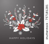 gray floral winter happy... | Shutterstock .eps vector #757181281