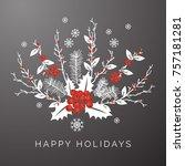 gray floral winter happy... | Shutterstock .eps vector #757181281