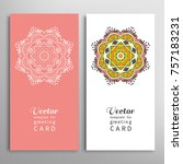 cards or invitations set with... | Shutterstock .eps vector #757183231