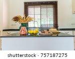 modern kitchen room interior...   Shutterstock . vector #757187275