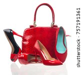 red fashion women shoes and... | Shutterstock . vector #757191361