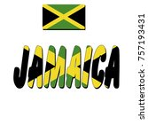 flag of jamaica and name of the ... | Shutterstock .eps vector #757193431