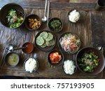 korean traditional food setting ... | Shutterstock . vector #757193905