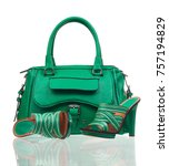 Green Summer Shoes And Handbag...