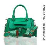 Green Summer Shoes And Handbag...
