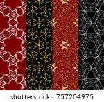 set of modern line art seamless ...   Shutterstock .eps vector #757204975