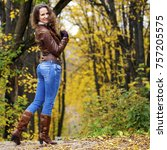 autumn fashion image of young...   Shutterstock . vector #757205575
