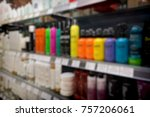 blurred store shelf with...   Shutterstock . vector #757206061