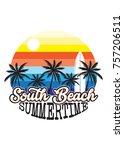 south beach sunset retro design ... | Shutterstock .eps vector #757206511