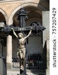 statue of jesus on the cross in ... | Shutterstock . vector #757207429