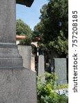tombstones in a cemetery in... | Shutterstock . vector #757208185