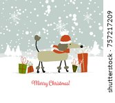 christmas card  santa dog with... | Shutterstock .eps vector #757217209
