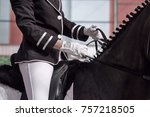 the jockey sits in the saddle... | Shutterstock . vector #757218505