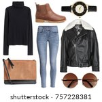 a set of fashionable clothes... | Shutterstock . vector #757228381