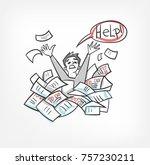 to do  help problem doodle... | Shutterstock .eps vector #757230211