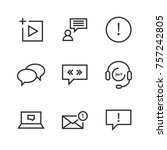 9 chat thin line icon | Shutterstock .eps vector #757242805