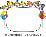 kids with blank border | Shutterstock .eps vector #757246075